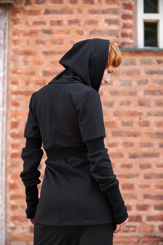 Cardigan Long Hoodie Yoga Sleeve Hoodie Black Hoodies Black Workout Plus Trendy Steampunk Cardigan Hoodie Hooded Clothing Size Hoodie UqAEFfw