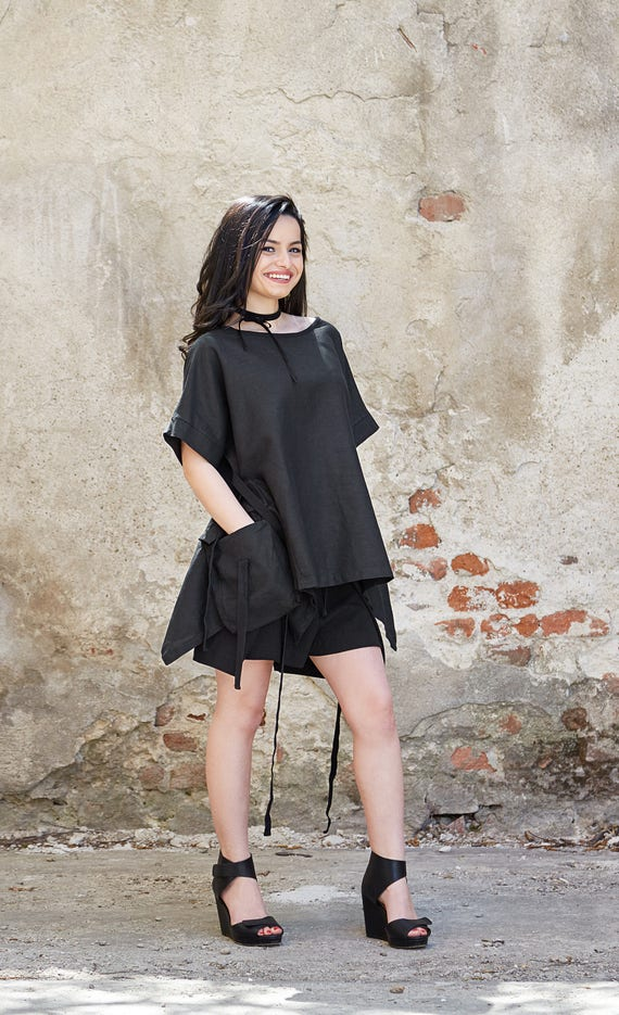 Tunic Japanese Shirt Top Black Top Clothing Black Top Top Black Black Kimono Top Linen Japanese Linen Oversize Linen Minimalist Black 7UpIqZ