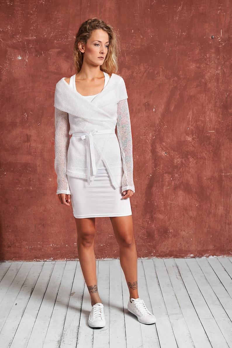 White Boho Blouse White Blouse Plus Size Blouse White Shirt Women White Minimalist Top Asymmetric Blouse Knit Blouse White Pulllover