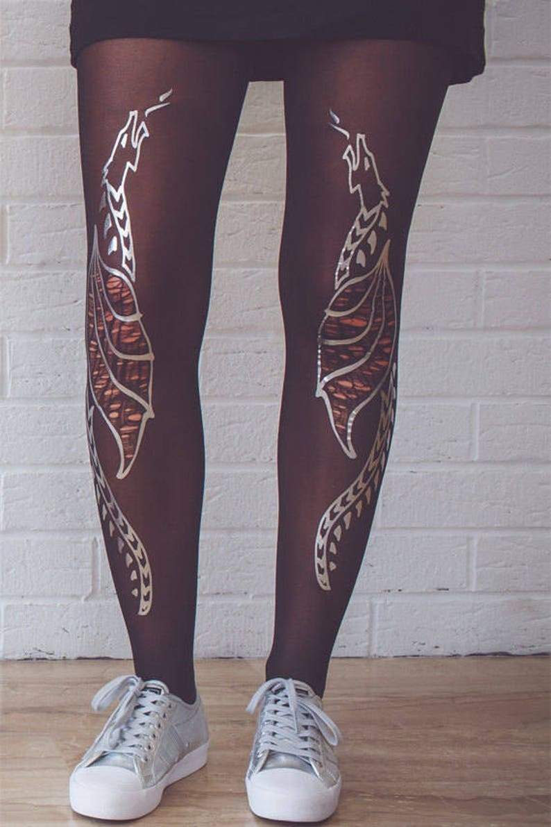 women tights Silver dragons tights burning man costume L-XL available in S-M
