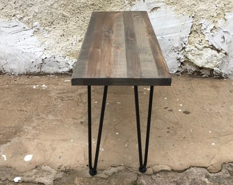 Wooden coffee table with metal legs, hairpin legs table, eco-friendly, natural pine wood, reclaimed wood, hand-made