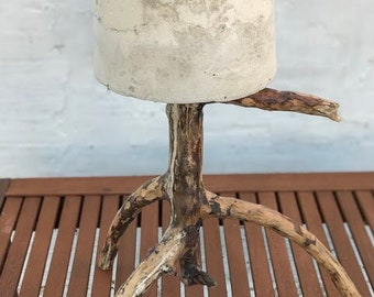 Tripod Forest Pot. Concrete planter with branches legs hand-made with cement and found branches. Driftwood.
