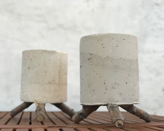Twin Forest Pot. Pack of two concrete planter with branches legs hand-made with cement and found branches.