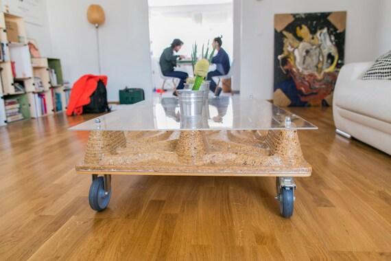 Coffee Table Wheels Industrial Wood Fiber Pallet Coffee Table Etsy