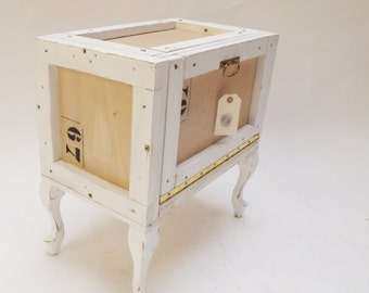Industrial wooden Nightstand. Upcycled. Recycled wood box. Custom made bedside table. Retro Night table. Reclaimed wooden packagin box