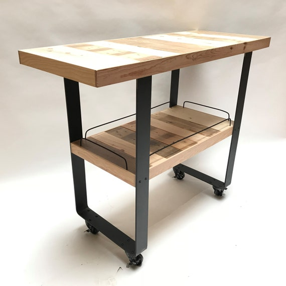 Industrial kitchen island on wheels reclaimed solid wood storage shelf  cabinet trolley steel worktop table Industrial Style Metal