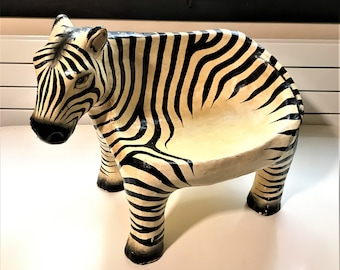 Retro chair for kids, 70s period, papier mache.  Antique decorative in-tray Zebra decoration