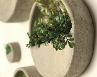 Concrete round wall planter set planters wall hanging planter vertical planter cement wall decor