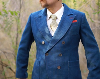 The Double-Breasted Suit----Retro-Modern in Denim Blue