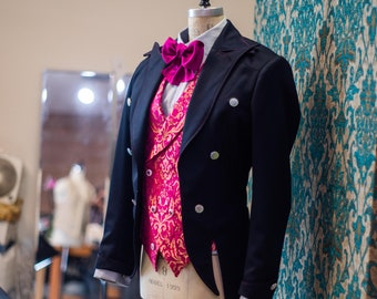The Interlocking Lapel----A suit with a tailcoat, vest, and pant