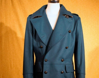 Wool Melton Trench Coats----Custom Made in Air Force Blue