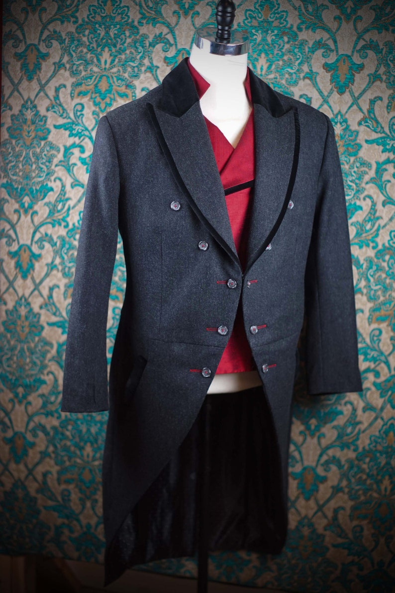 1900s Edwardian Men's Suits and Coats Victorian Morning Coats----3pc Frock Suits $2,575.00 AT vintagedancer.com