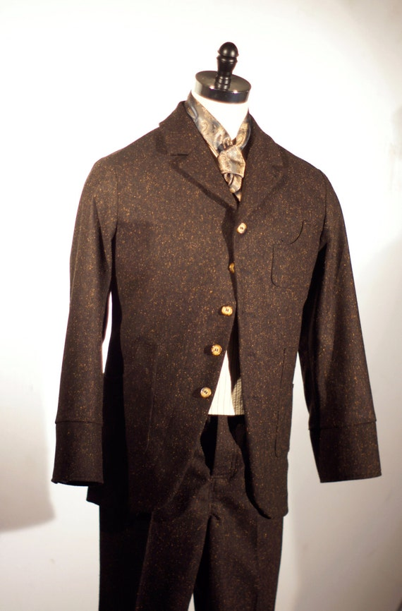 1900s Edwardian Men's Suits and Coats Irish Tweed Workingmans Sack Coat and Pant---Editions 36 $1,115.00 AT vintagedancer.com