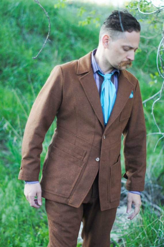 Men's Vintage Style Suits, Classic Suits Edwardian Flannel Suits---With Slim Fit Pants---Editions36 $1,245.00 AT vintagedancer.com