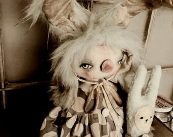 Rabbit EPATTERN-primitive bunny cloth doll craft digital download sewing pattern-PDF