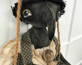 Crow EPATTERN-primitive Raven cloth doll craft digital download sewing pattern-PDF Brenda Sanker