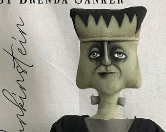 Frankenstein and Pumpkin Halloween EPATTERN-primitive cloth doll craft digital download sewing pattern-PDF Brenda Sanker