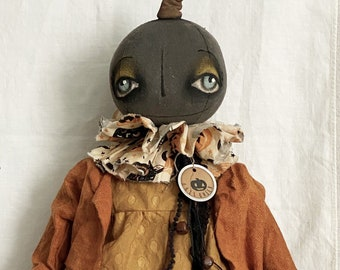 Pumpkin EPATTERN-primitive cloth doll craft digital download sewing pattern-PDF Brenda Sanker
