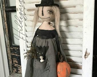 Witch EPATTERN-primitive witch cloth doll craft digital download sewing pattern-PDF Brenda Sanker