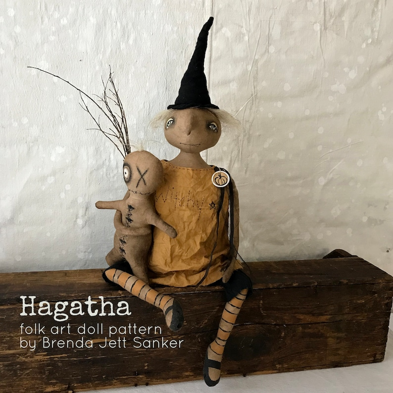 Witch EPATTERN-primitive witch cloth doll craft digital image 0