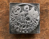 Vintage PRINTERS BLOCK - Southern Bell Woman with flowing dress holding ornate Umbrella