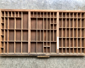 Antique Letterpress Printers TYPE TRAY w/ Identity Label holding Handle