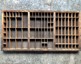 Antique Letterpress Printers wooden TYPE TRAY w/ Hamilton Handle and identity slot