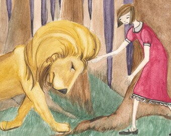 Lion and Apple Girl Meet in the Woods - Children's Room Original Watercolor Painting 8x10
