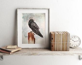 Raven Watercolor Print 8x10