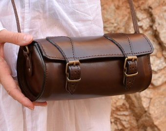 Handmade full grain round leather barrel bag from Greece b1f3c1421f5da