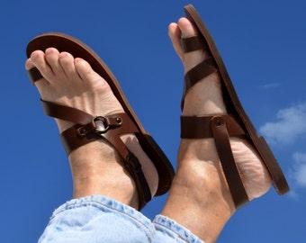 Greek handmade Roman leather sandals for men-immediate shipping in brown & black