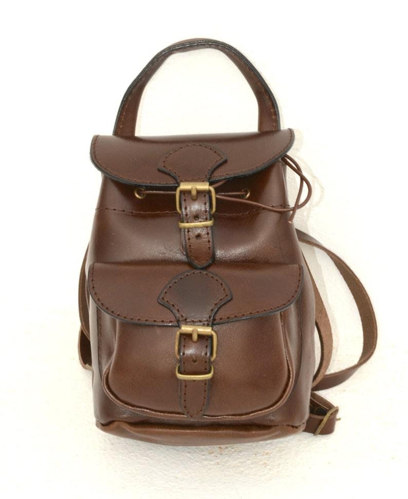 55e2917420b Handmade leather mini backpack in brown