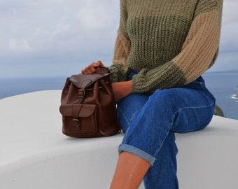 Handmade natural leather medium size backpack
