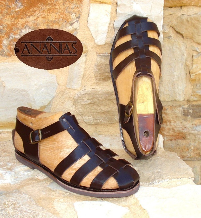 1930s Men's Shoe Styles, Art Deco Era Footwear Greek Sandals Roman Grecian leather sandals for men handmade in Greece $45.00 AT vintagedancer.com