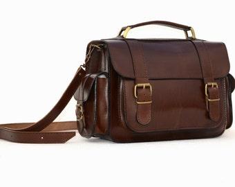 Handmade full grain brown leather briefcase bookbag camera bag schoolbag messenger bag from Greece