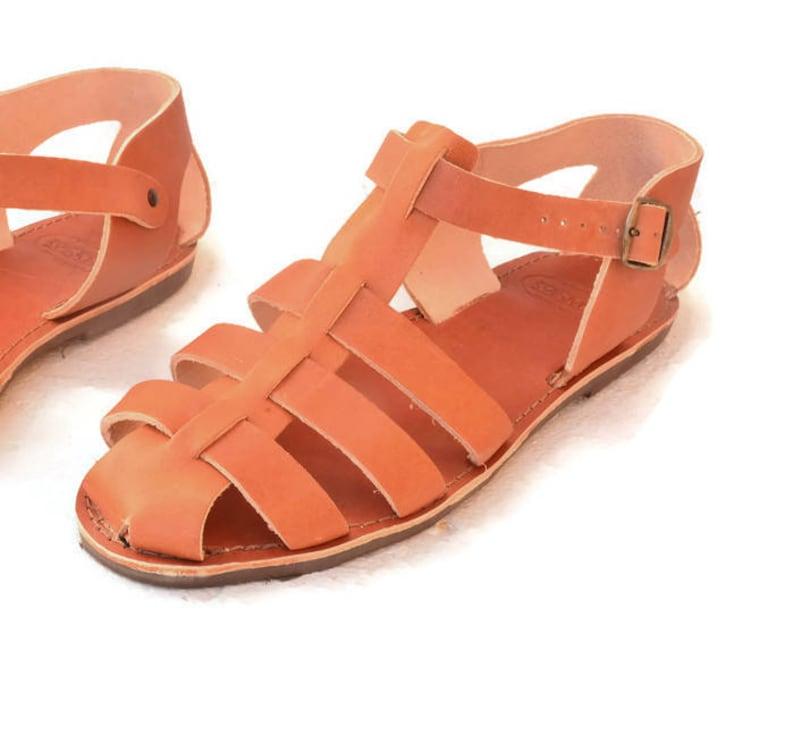 1930s Men's Shoe Styles, Art Deco Era Footwear Greek handmade Gladiator fisherman leather sandals for men - NEW COLOR $45.00 AT vintagedancer.com