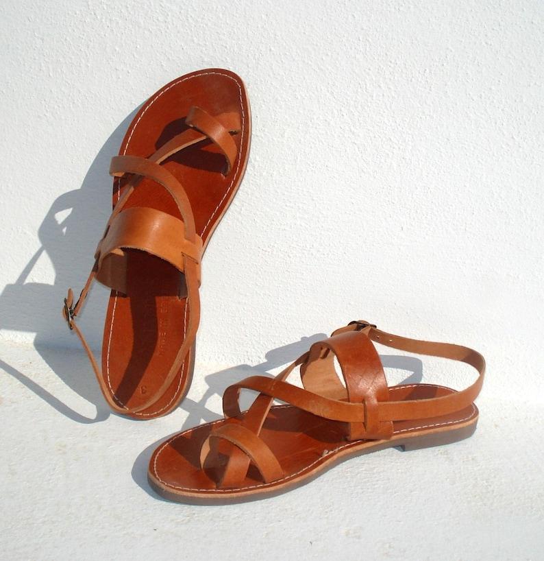 Handmade Roman Grecian leather sandals-immediate shipping image 0
