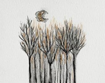 Original Moon Tree Landscape Drawing