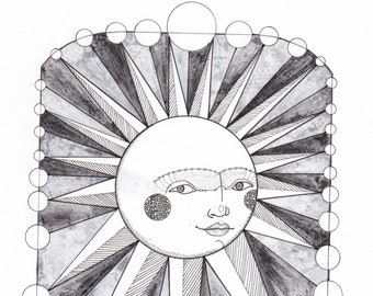 Original Celestial Sun Ink and Watercolor Drawing