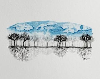 Original Tree Land Sky Landscape Watercolor Painting