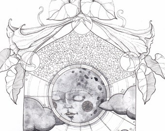 Original Celestial Moon Ink and Watercolor Drawing