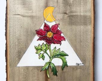 Original Geometric Acrylic  Painting Wood Splice