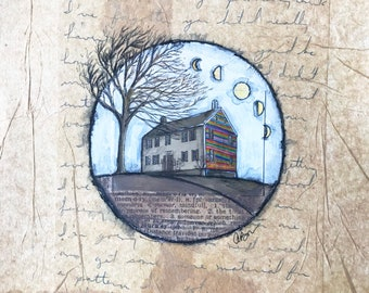 Original Mixed Media Farmhouse Painting