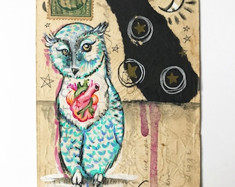 Original Mixed Media Owl Art on Vintage Postcard