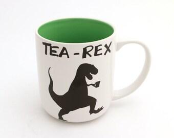 tea-rex mug, t rex, dinosaur mug, gift for tea lover, large 16 oz
