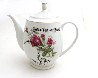 Beauty and the Beast,  parody - beau- tea and the beast - upcycled teapot, One of a Kind vintage teapot with gold accents