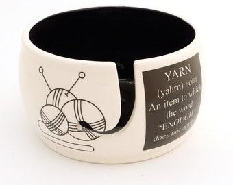 ceramic yarn bowl, definition of yarn, modern yarn bowl, gift for knitter, crochet bowl, yarn addict