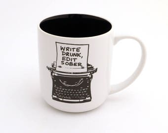 Writers Mug with Typewriter Funny Gift for Author or Lover of Writing, large 16 oz kiln fired ceramic coffee mug, write drunk edit sober