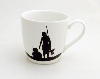 A woman's place is in the resistance, Rey mug, Star Wars mug, rebel mug, female empowerment, The last Jedi mug, BB8