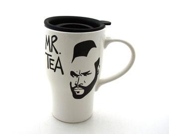 Mr T Tea Ceramic Travel Mug with Handle